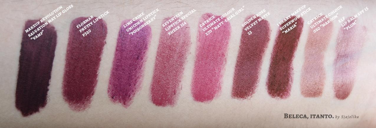autumn lipstick swatches